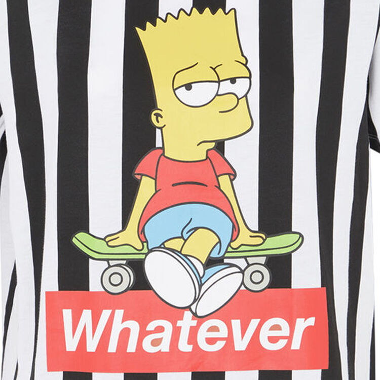 T-shirt w paski z nadrukiem bart;