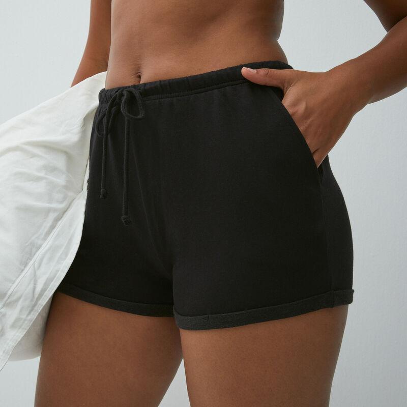 Plain fleece shorts - black;