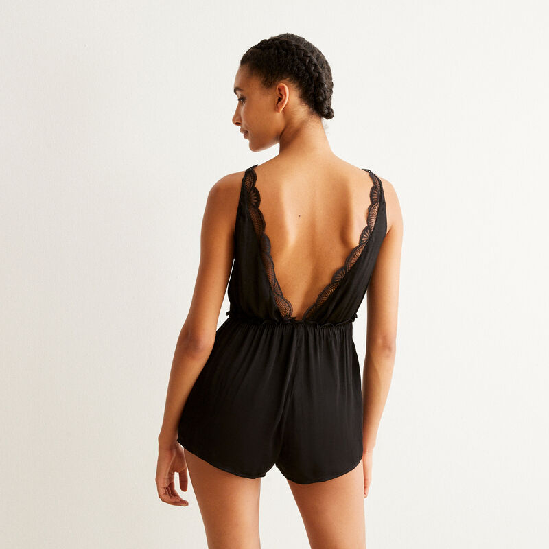 lace and satin playsuit - black;