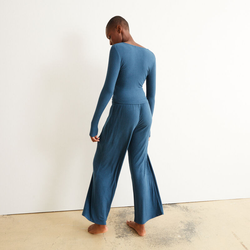 wide-leg trousers and drawstring - blue;