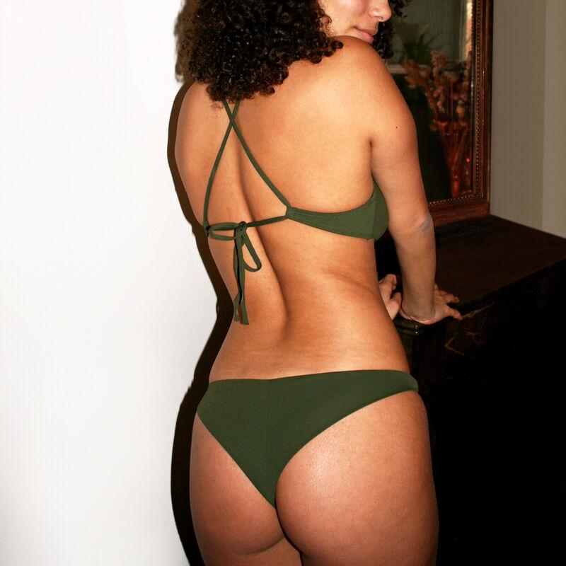 Plain tanga bikini bottoms - khaki;
