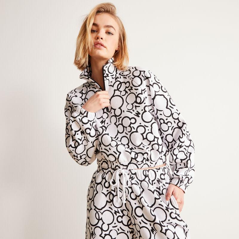 zipper sweatshirt and Mickey face print - white;