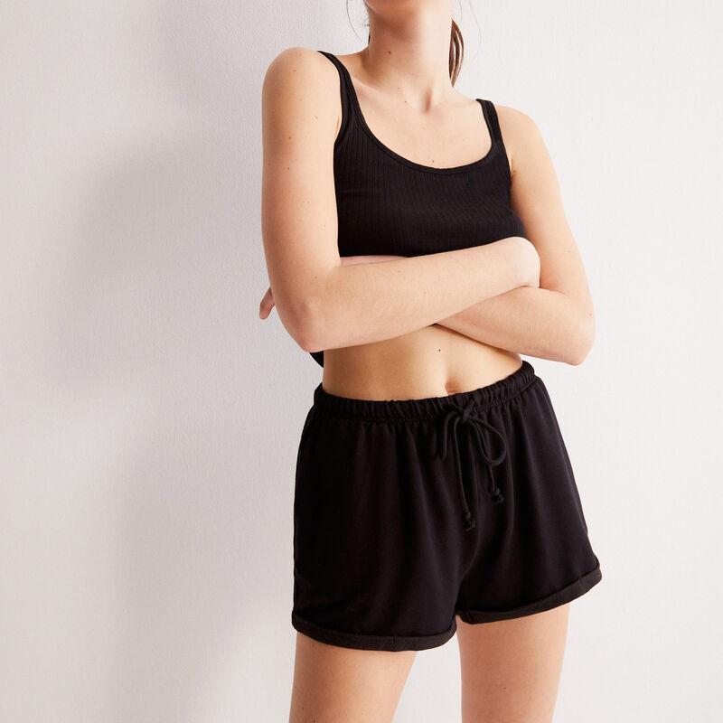 plain shorts with drawstring detail  - black;