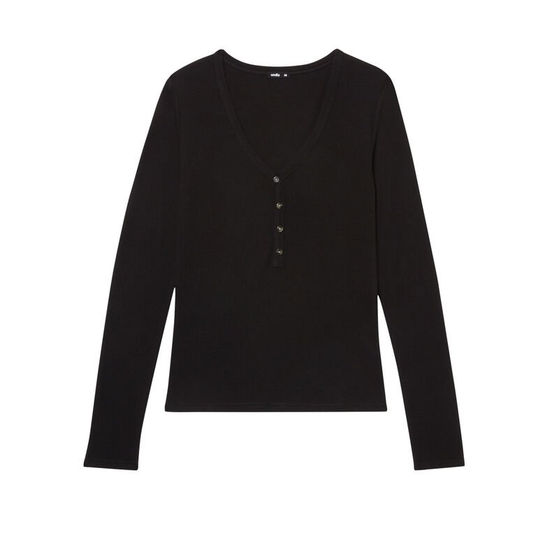 Ribbed top with V-neck and buttons - black;