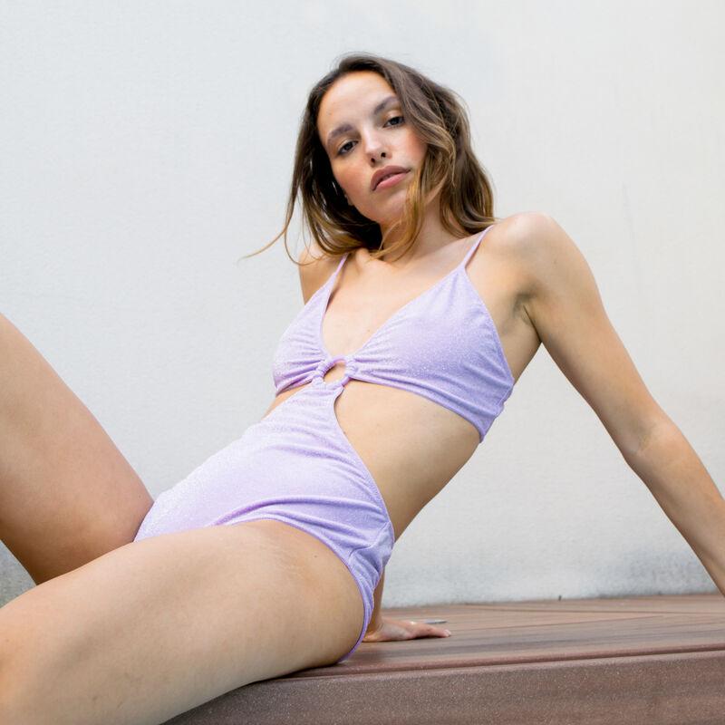 1-piece trikini with ring - lilac;