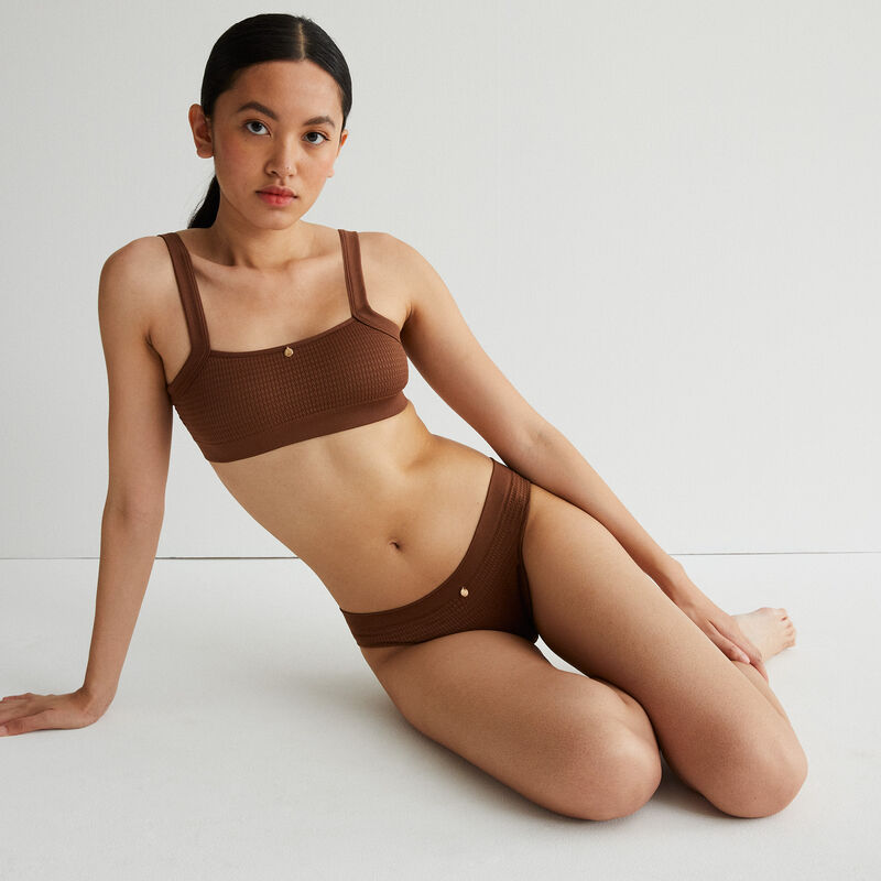 embossed effect knickers with jewel detail - brown;