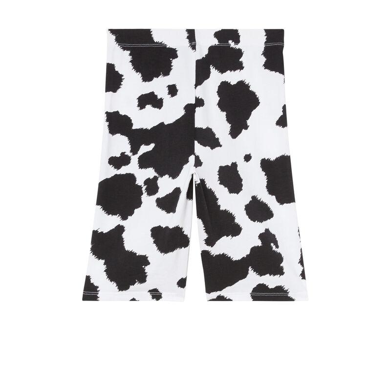 cycling shorts with cow print - ecru;