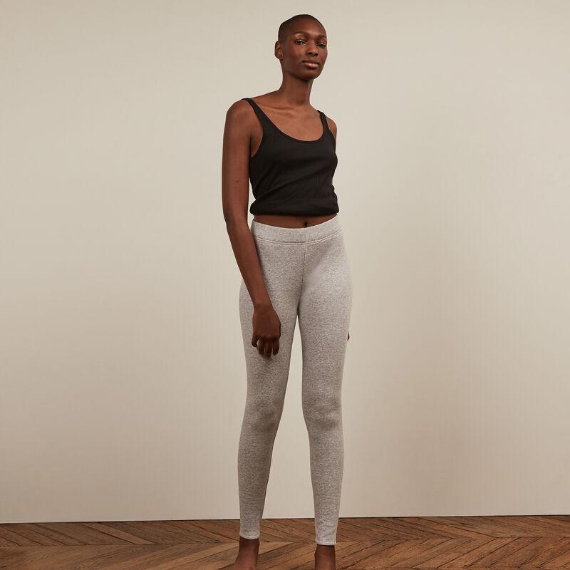 fleece leggings - marled grey ;