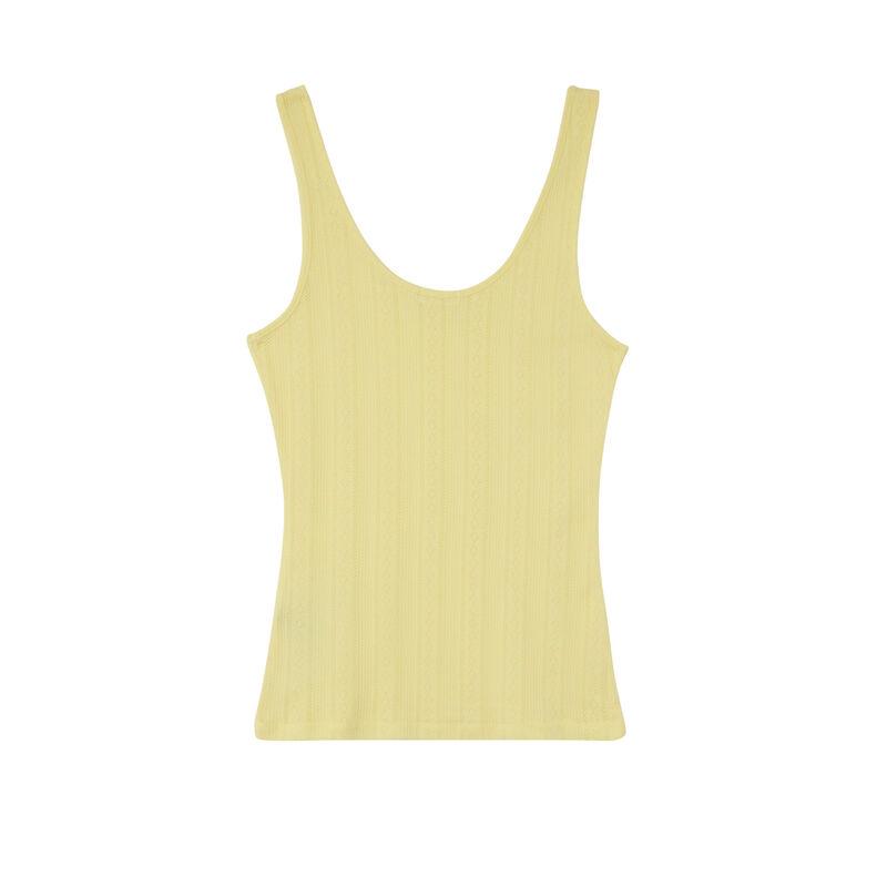plain pointelle knit tank top - yellow;