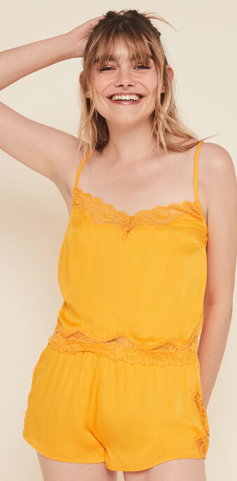 Sexysatiz top with narrow satin straps saffron.