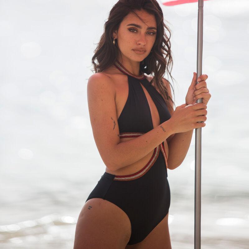 Cutaway one-piece swimsuit - black ;