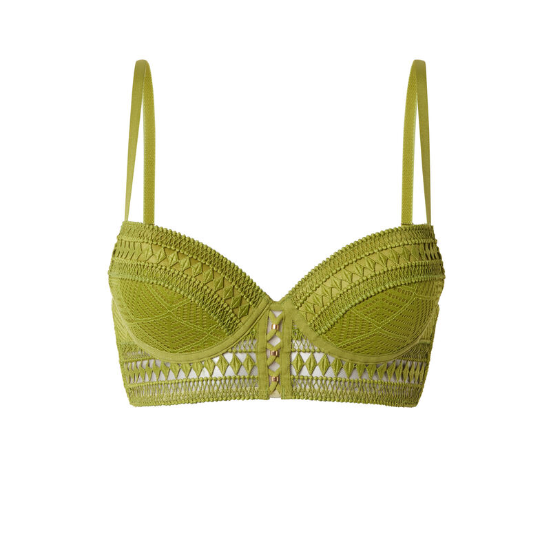 lace push-up bustier bra with lacing - khaki;