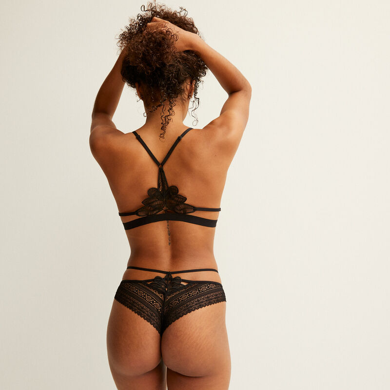 triangle bra with back lace detail - black;