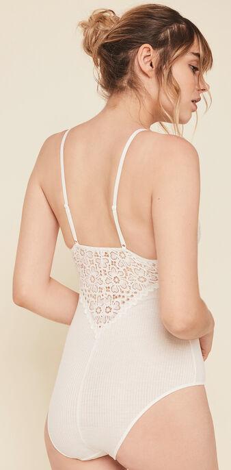 Glaciz wireless microfibre/lace bodysuit. white.