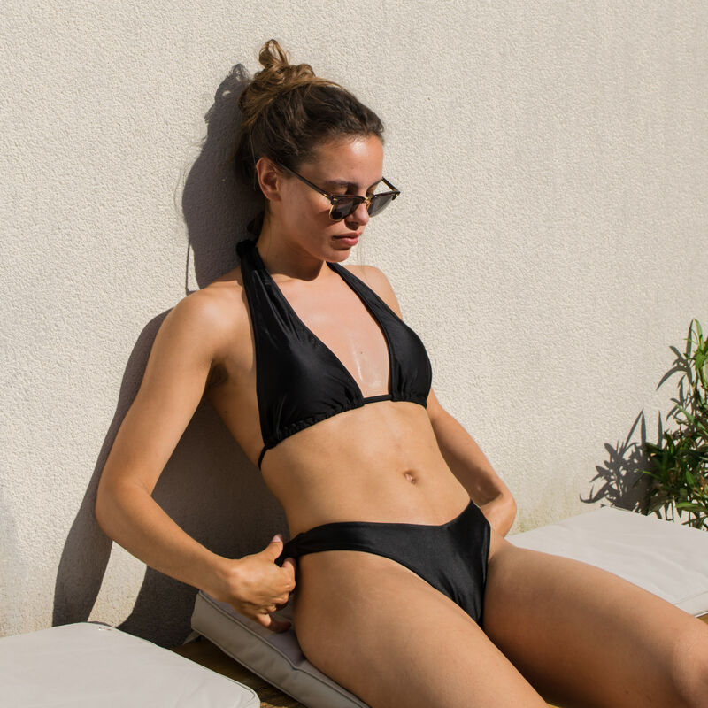 gloss triangle foulard swimsuit top with no underwiring - black;