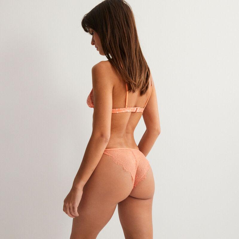 треугольный бюстгальтер без косточек из кружева с мраморным эффектом и украшением в виде ананаса - розовый;