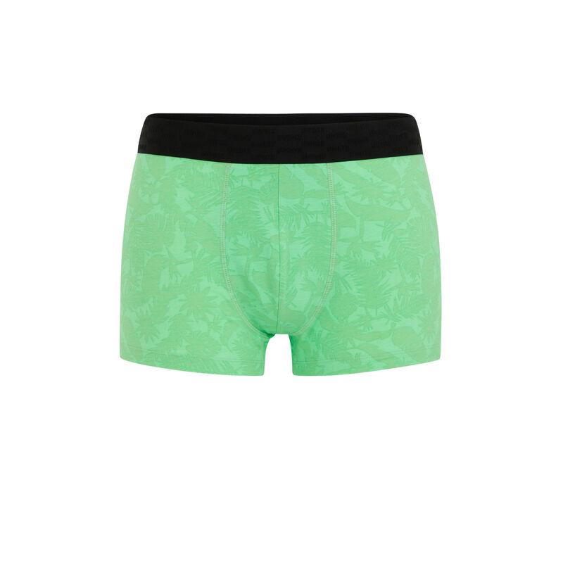 Cotton boxers with slogan - apple green;