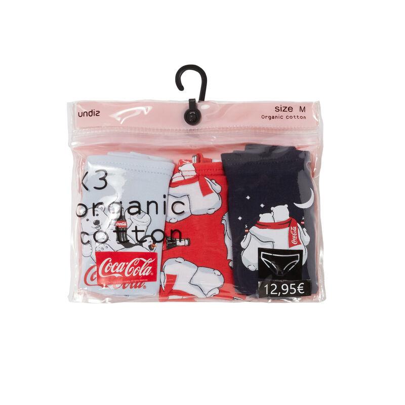 Pack of 3 coca-cola mood briefs - navy bluegrey;