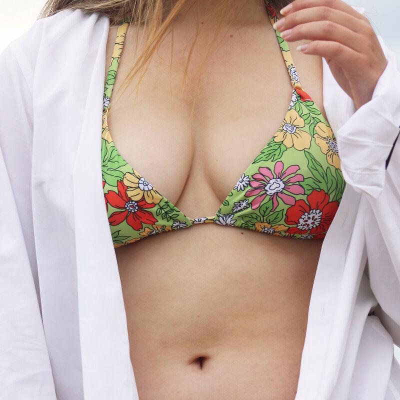 double wrap-around floral triangle bikini top - green;