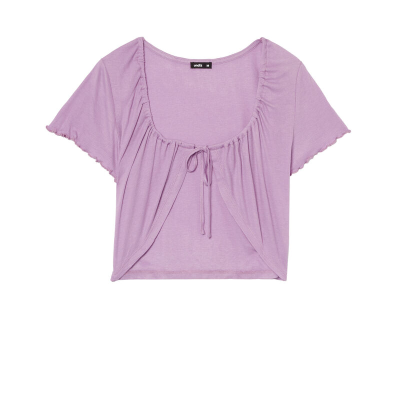 Wrap crop top - lilac;