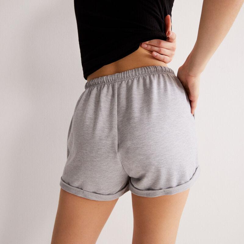 однотонные шорты со шнурком-завязкой - серый;