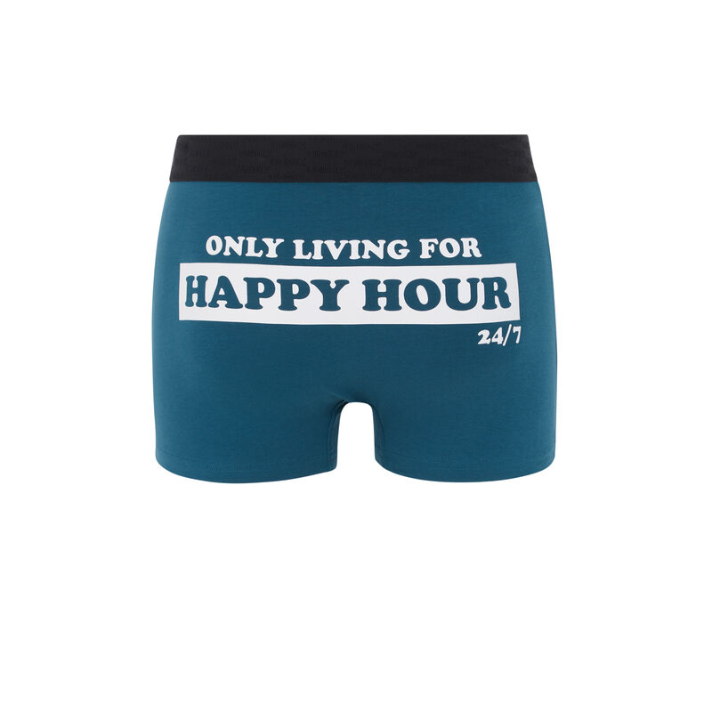 Cotton boxers with slogan - duck-egg blue;