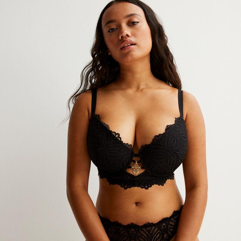 Jewel detail lace bustier push-up bra - black;