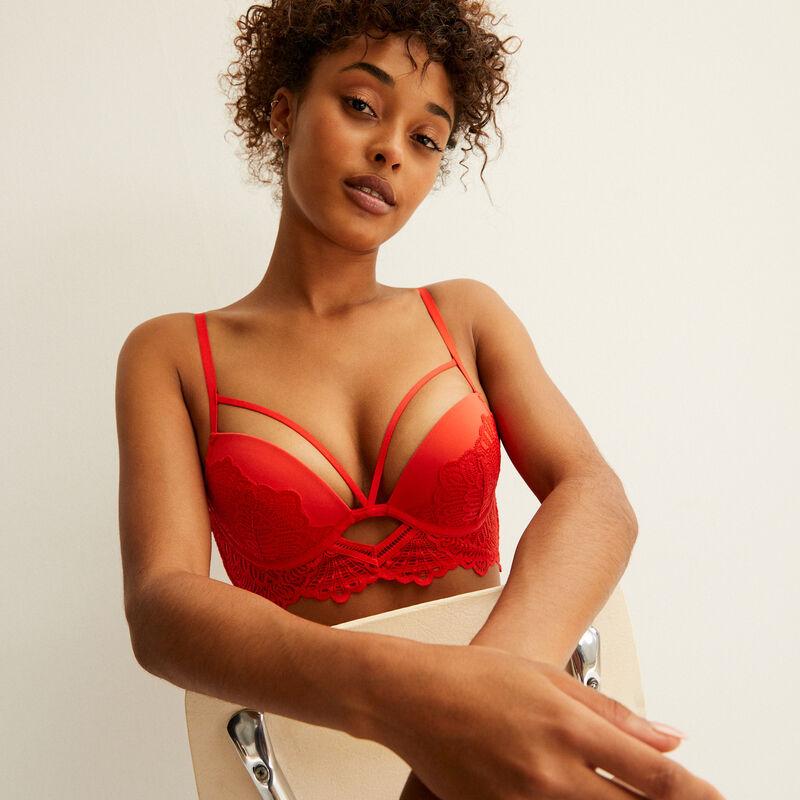 openwork crossover strap push-up bra - red;