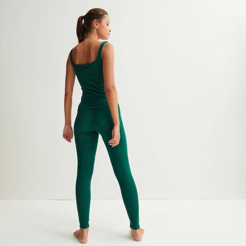 Plain jersey vest top - dark green;
