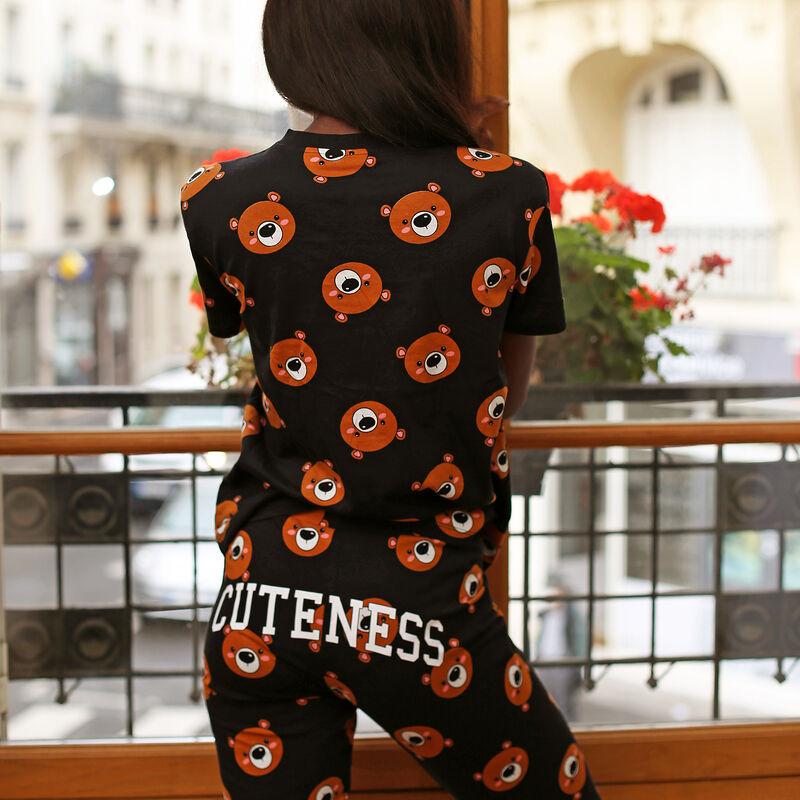 legginsy z niedźwiadkiem z napisem cuteness - kolor czarny;