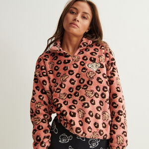 zip-up lion king print fleece - pink
