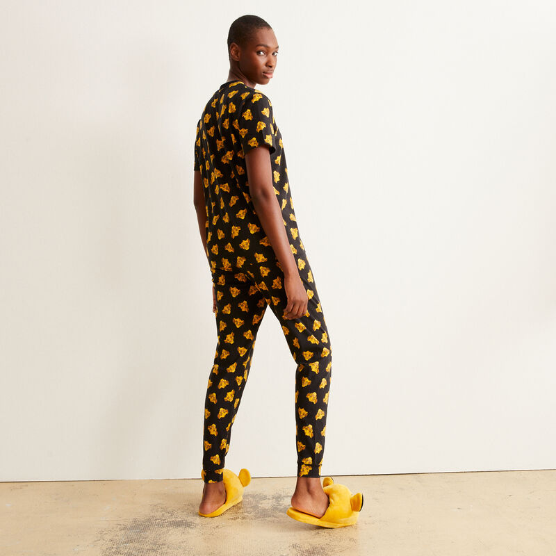 Trousers with Simba print - black;