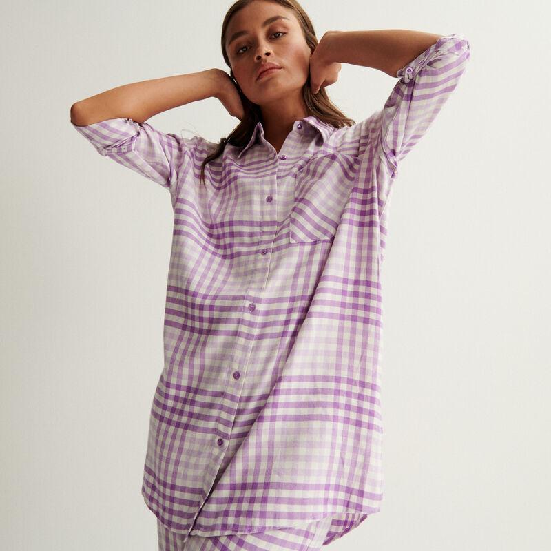 Oversize check shirt - purple;