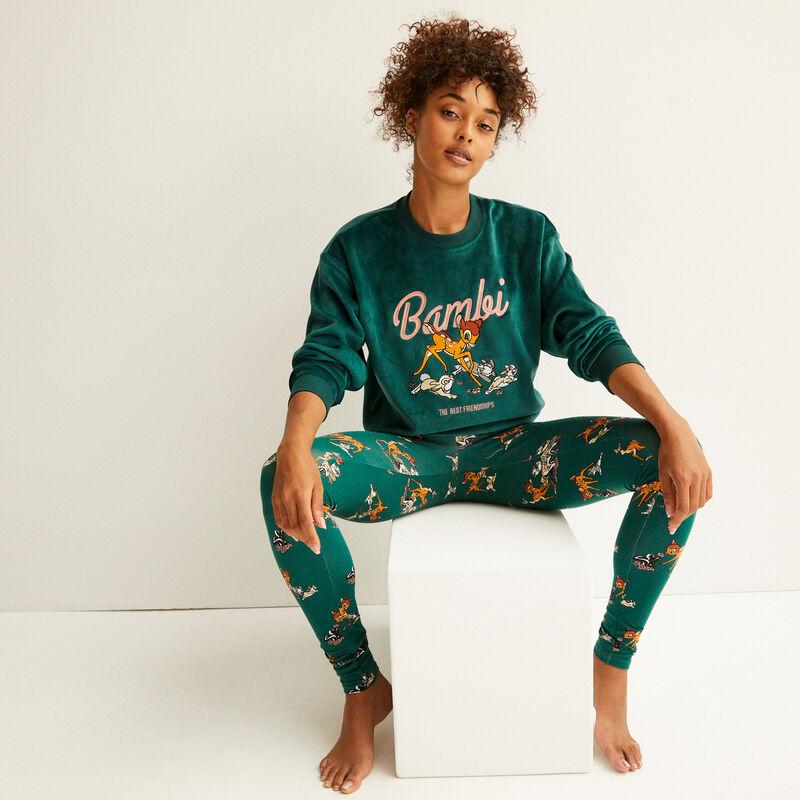 fleece sweatshirt with bambi print - pine;