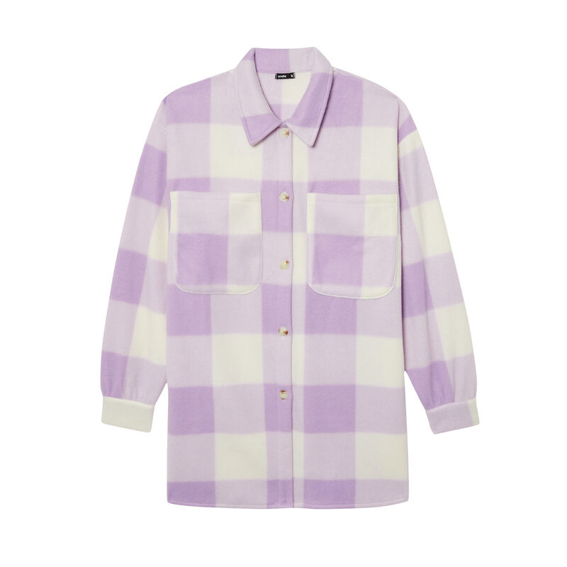 chequered fleece shirt - purple;