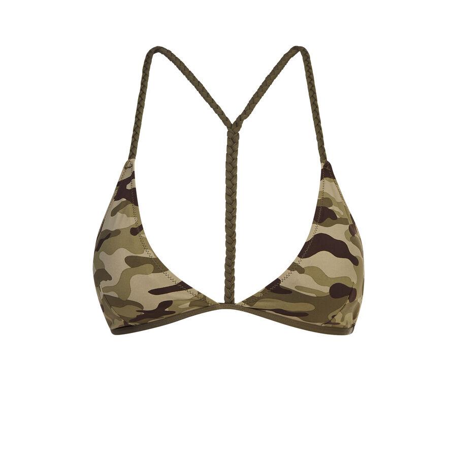 Camouiz khaki green bikini top;${refinementColor}