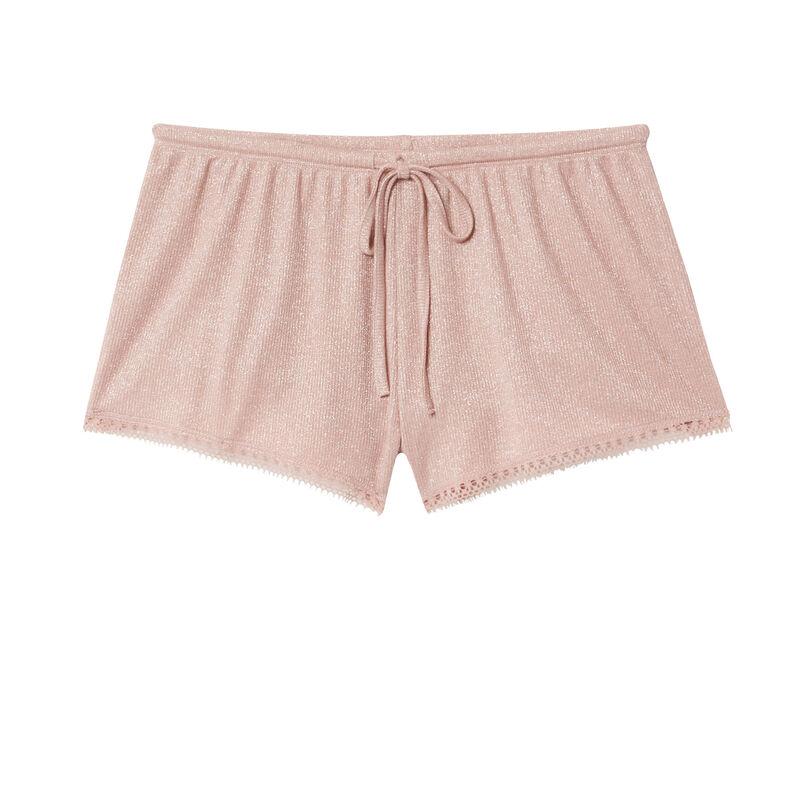 шорты с блестками и кружевной окантовкой - телесный розовый;