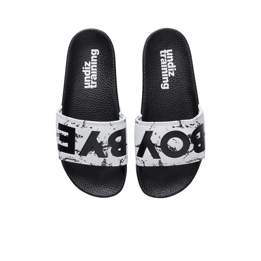 Claketiz white flip flops;