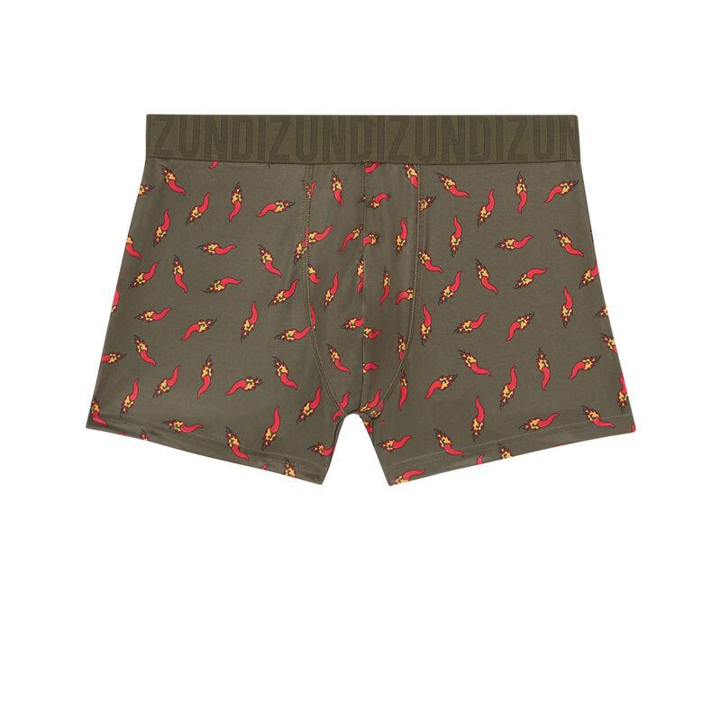 boxer en coton à motifs piments - kaki;