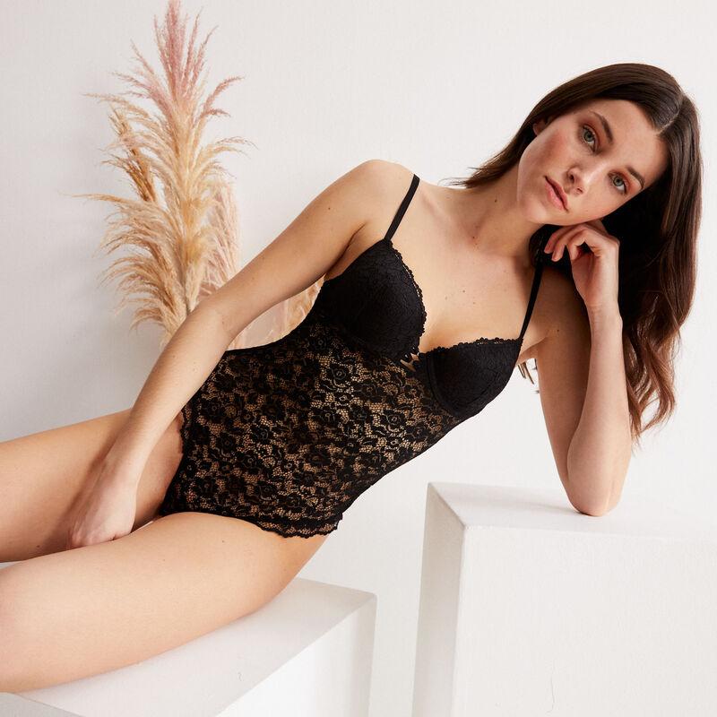 floral lace padded bra - black;