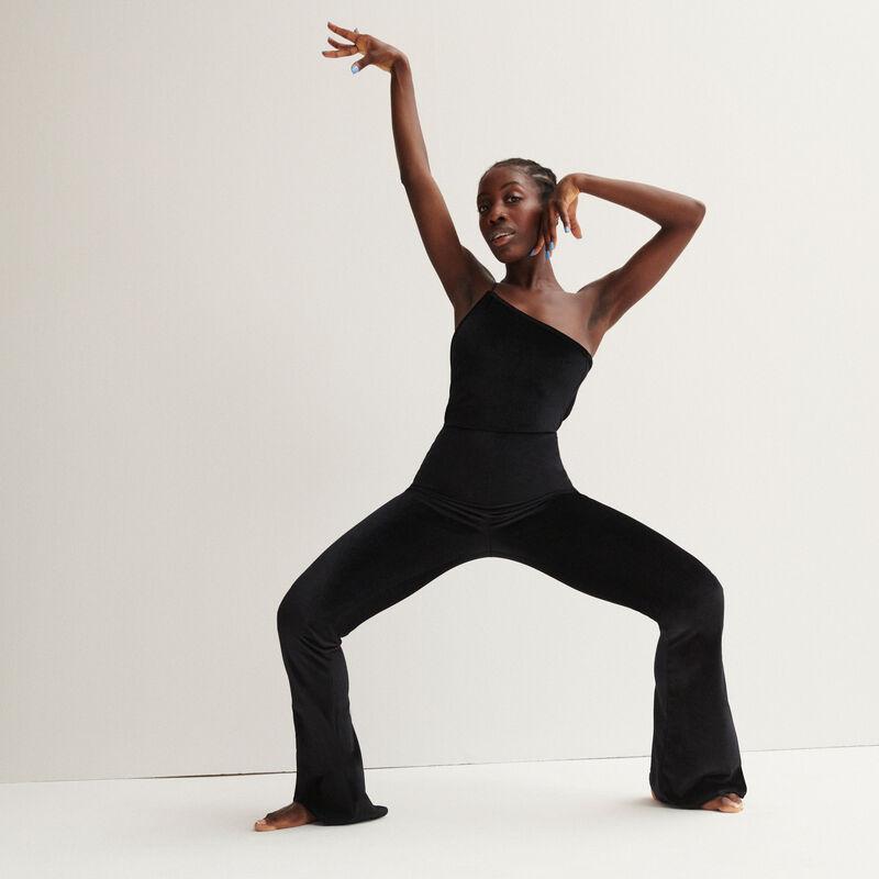 Aya x undiz velour asymmetric jumpsuit - black;
