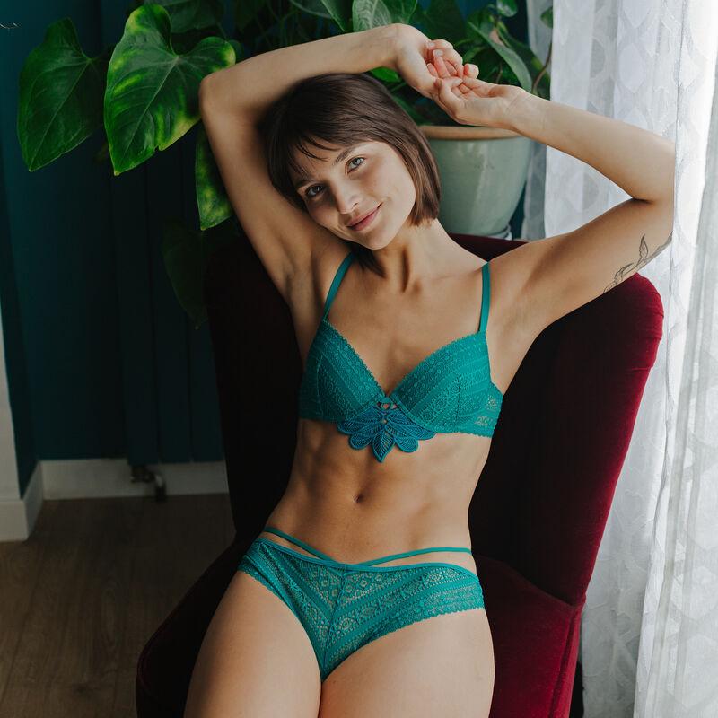 Lace push-up bra - green;