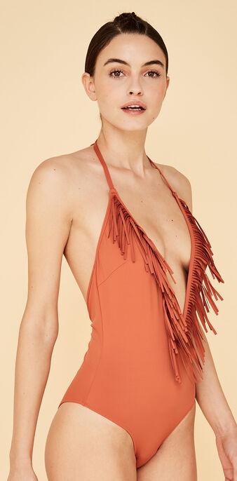 Doussiz camel-coloured one-piece swimsuit brown.