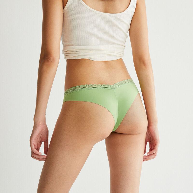 plain microfibre tanga - green;