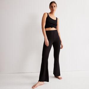 брюки клеш из ажурного трикотажа - черный