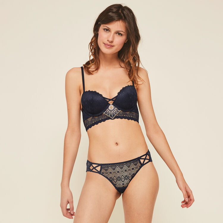 Horoscopiz midnight blue push-up bustier bra;