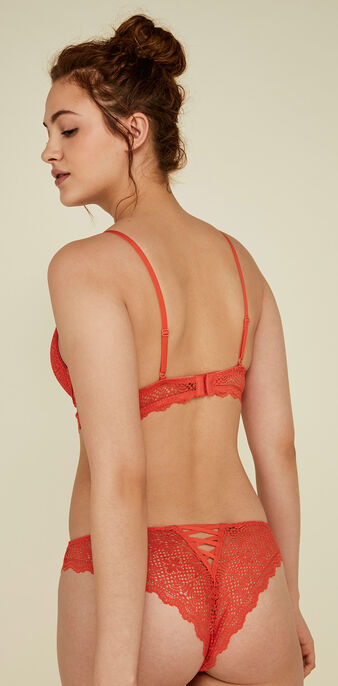 Mahaliz orange push-up bustier bra orange.