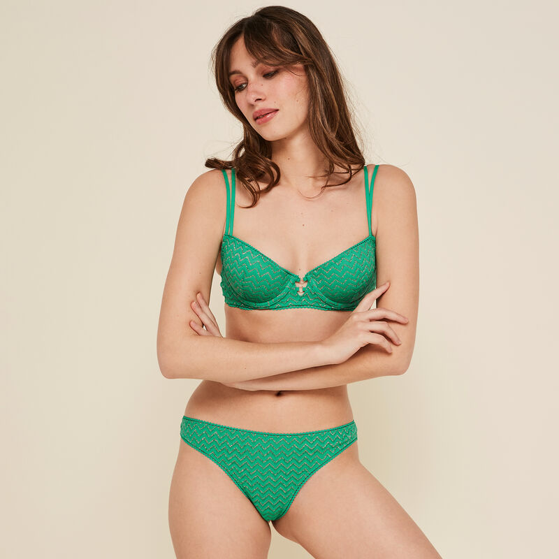 Lurexiz emerald-green tanga;