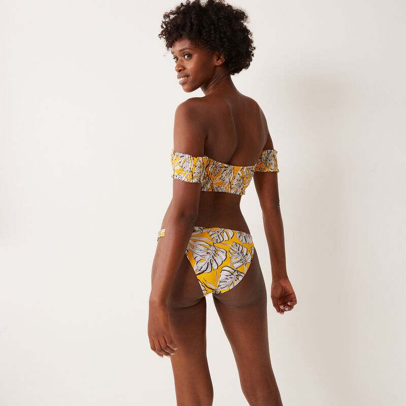 bralette bikini top with palm print and sleeves - yellow;