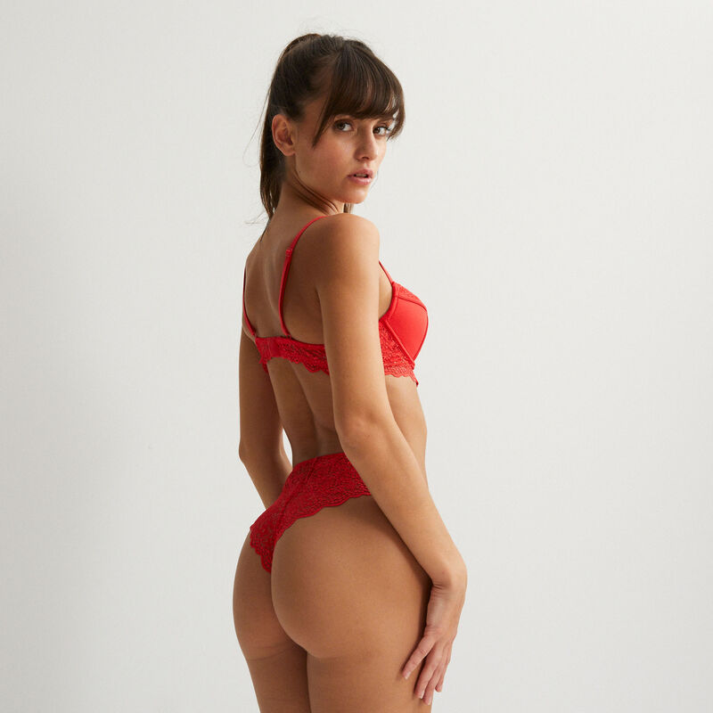 textured tanga briefs with button detail - red;